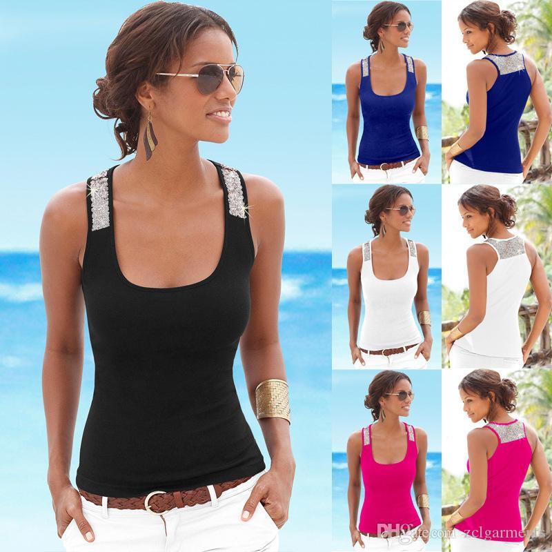Women Casual Crop Tops Camo Sequins Sundress Fashion Tank Tops Summer Sleeveless Scoop Neck Slim T-shirt Sexy Vest S-3XL