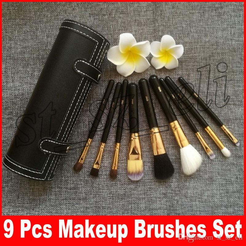 M Brand 9 Pcs Makeup Brushes Set Kit Travel Beauty Professional Wood Handle Foundation Lips Cosmetics Makeup Brush with Holder Cup Case