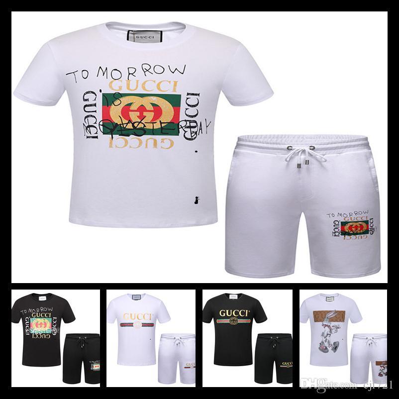2018 роскошный дизайнерский бренд Лето для мужчин одежда проверить шеи письмо спортивные костюмы шорты рубашка бриджи костюм размер M-XXXL