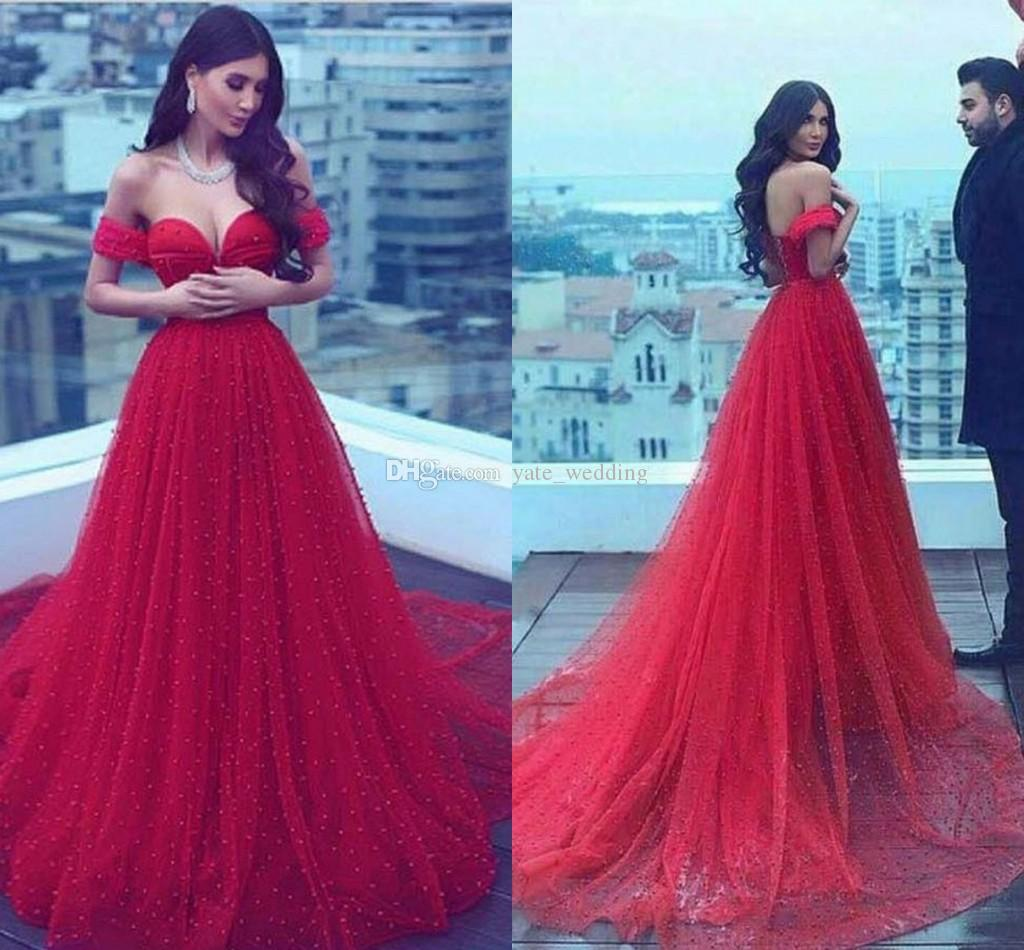 Red Pearl Tulle Evening Dresses Sweetheart Off The Shoulder Saudi Arabic Bandage Lace Up Back Evening Gowns Sexy Prom Dresses
