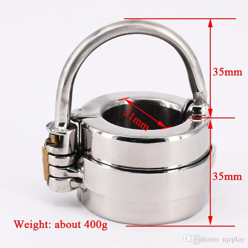 New Mens Penis Ball Locking Chastity Device Male Spiked Ball Stretcher Stainless Steel Penis Bondage Metal Cock And Scrotum Rings