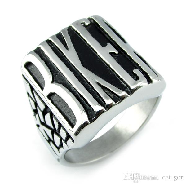 Drop Shipping 316L Stainless Steel Silver BIKER Ring Mens Motorcycle Biker Band Party Mens Ring