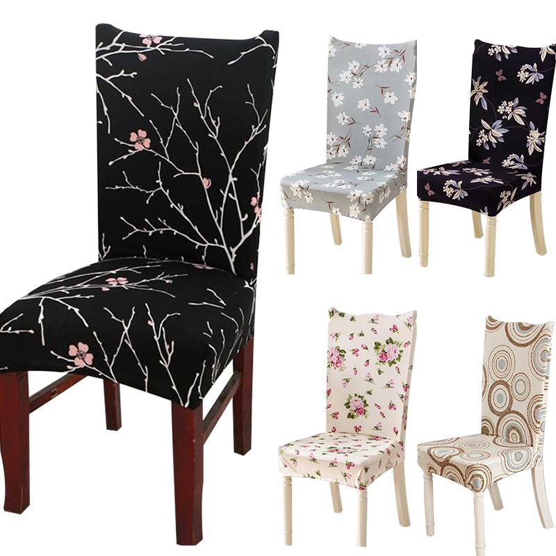 Terrific Printing Chair Covers Four Seasons Home Chair Cover Anti Dirty Dining Chair Cover Case For Banquet Party Spandex Elastic Flower Dining Room Chair Seat Caraccident5 Cool Chair Designs And Ideas Caraccident5Info