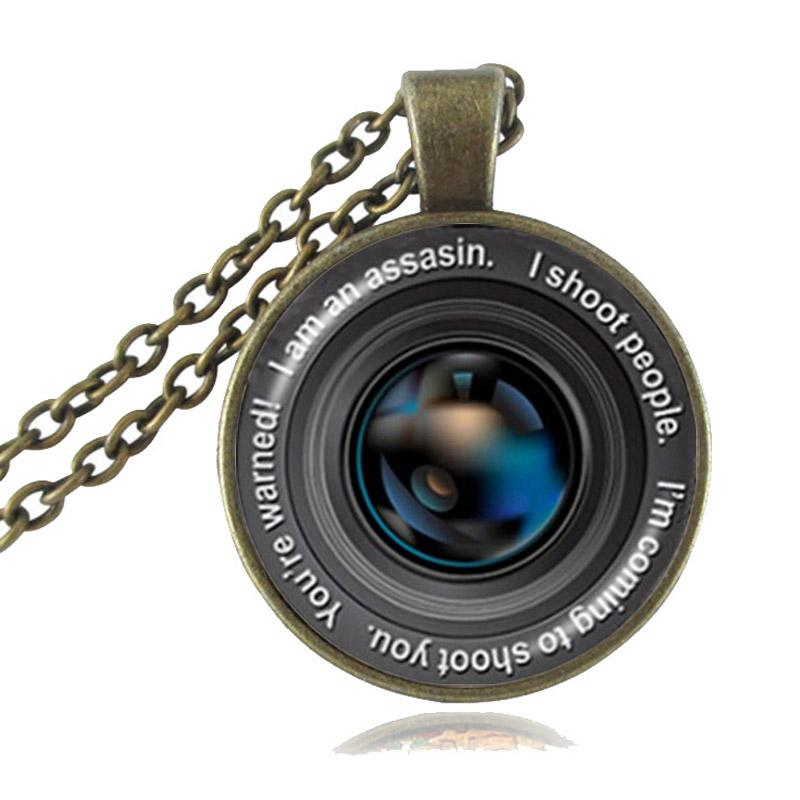 Camera Lens Pendant Vintage Photo Grapher Necklace Glass Cabochon Dome Jewelry Old Lenses Bronze Chain Necklace Gift for the Photographer