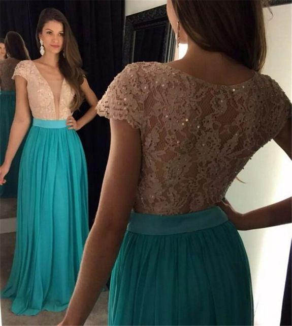 Compre 2018 Azul Turquesa De Encaje Vestidos De Baile Largo De Gasa Con Cuentas Vestido De Baile Barato Vestido Longo A 12573 Del Kimjobridal