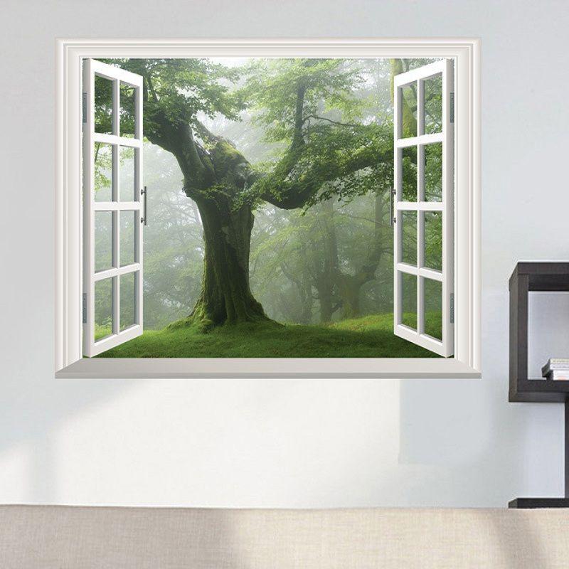 Bosque Viejo verde del árbol 3D ventana de visualización etiqueta de la pared decoración grande etiqueta de la pared árbol vivo pared del sitio de la etiqueta engomada de la etiqueta de bricolaje Home