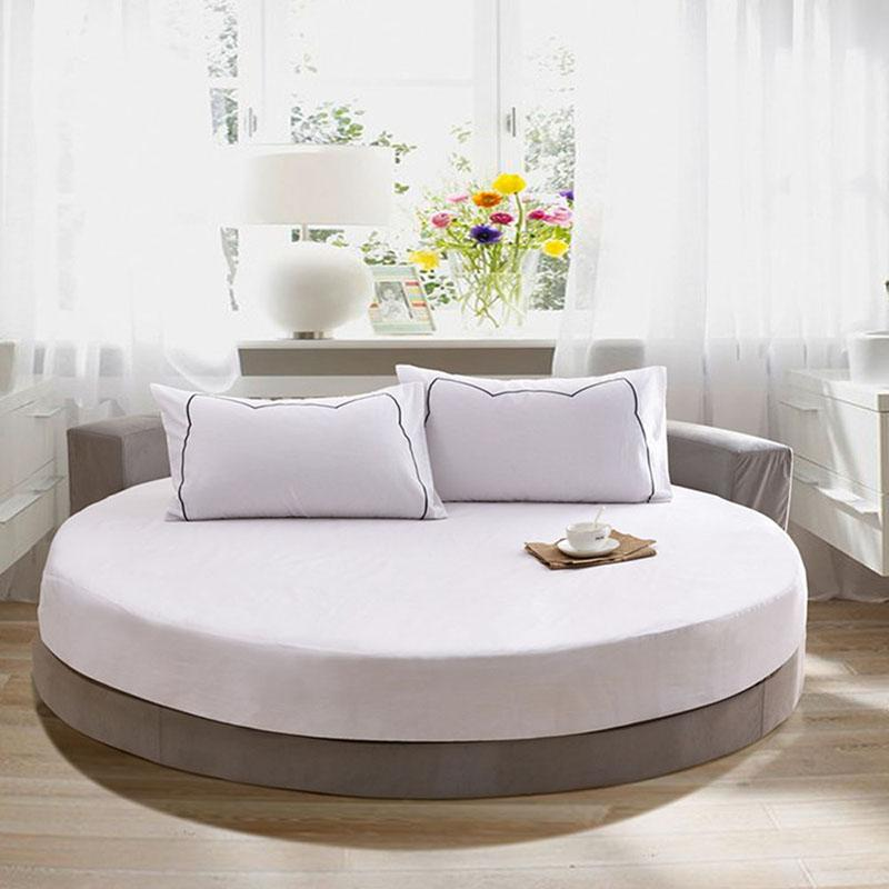 100% Pure Cotton Round Fitted Sheet European Style Solid Color Bed Sheet for Round Bed Mattress Diameter 200cm 220cm