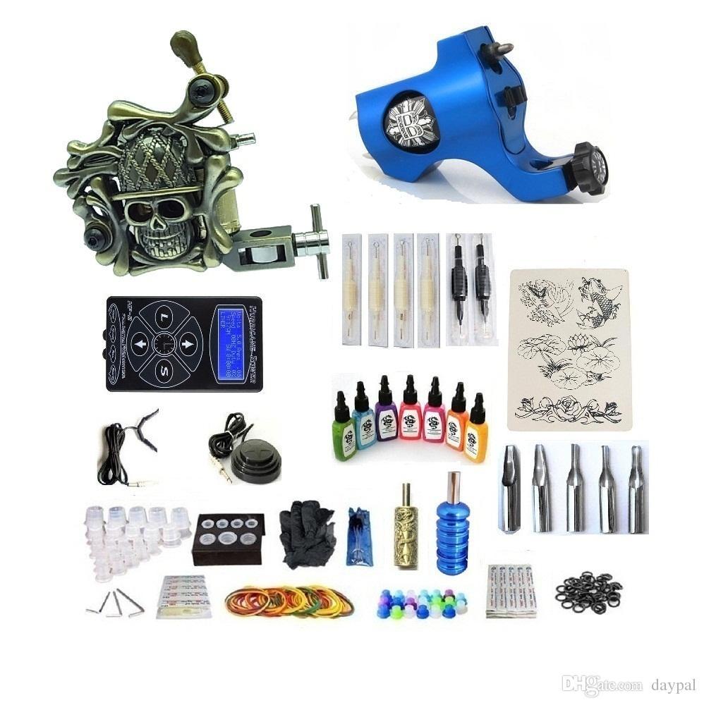 Kit de tatuaje profesional 2 Pistola (rotativa hecha a mano) Máquina con fuente de alimentación de alta calidad 2 puños Tubo de tubo trasero 7 Tinta 50 agujas G2Z12Z2