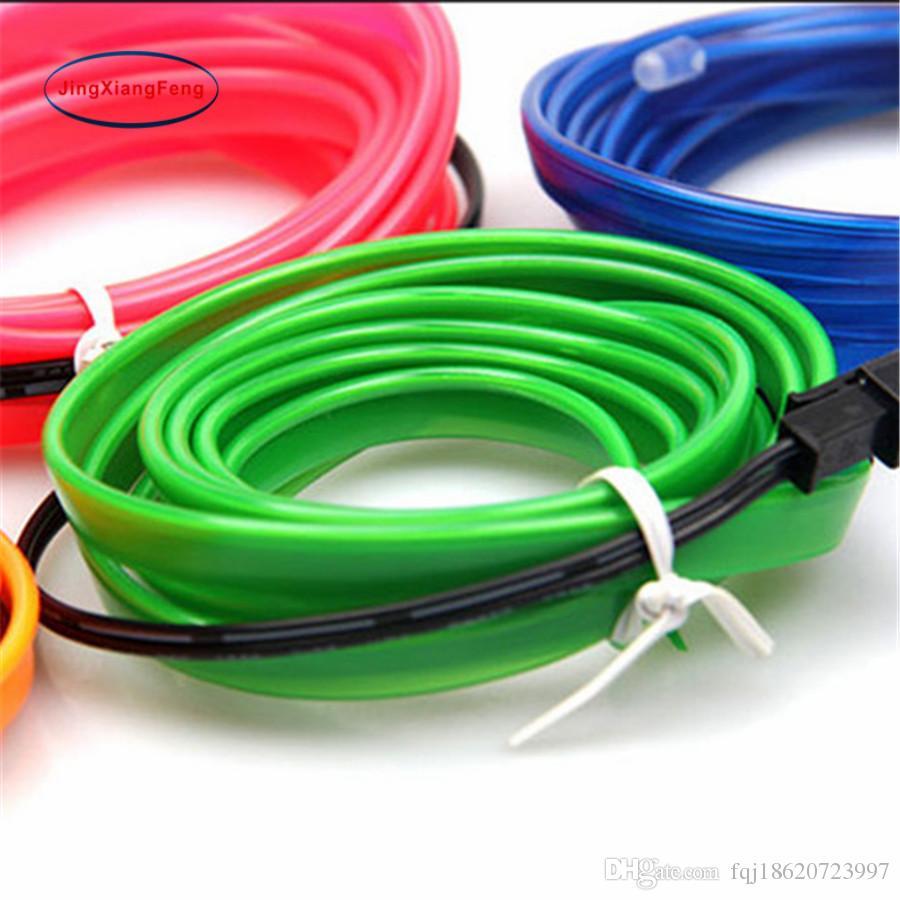 3M 110V LED Flexible Neon Light Glow EL Wire Rope Tube Car/Room Decorative Light 10 Colors + 12V Inverter