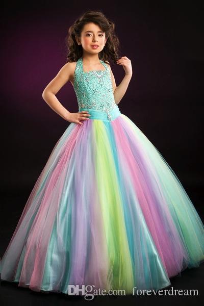 Mooie Rainbow Halter Tule Kralen Bloem Meisje Jurken Meisjes Pageant Jurken Verjaardag / Holidays Jurken Custom Maat 2-14 FD708188