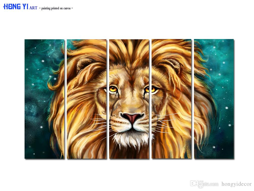 Large Contemporary Hot Sale Art Wall Animal Lion Head oil painting Picture Printed on canvas for Living Room Bedroom Home Decor Aset164