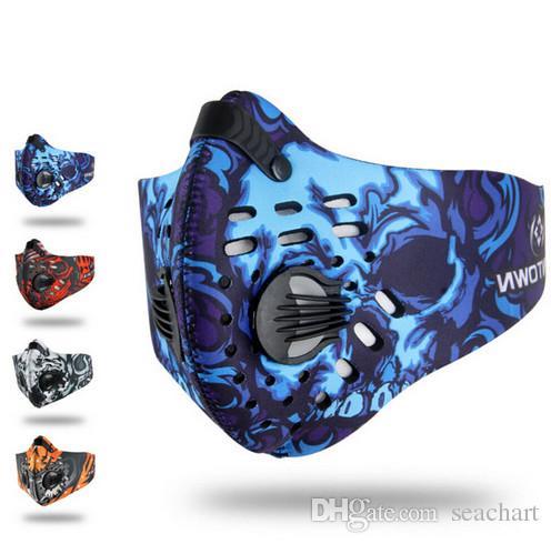 Hommes / Femmes de charbon actif anti-poussière à vélo Masque anti-pollution vélo vélo extérieur écran facial masque de formation FT103