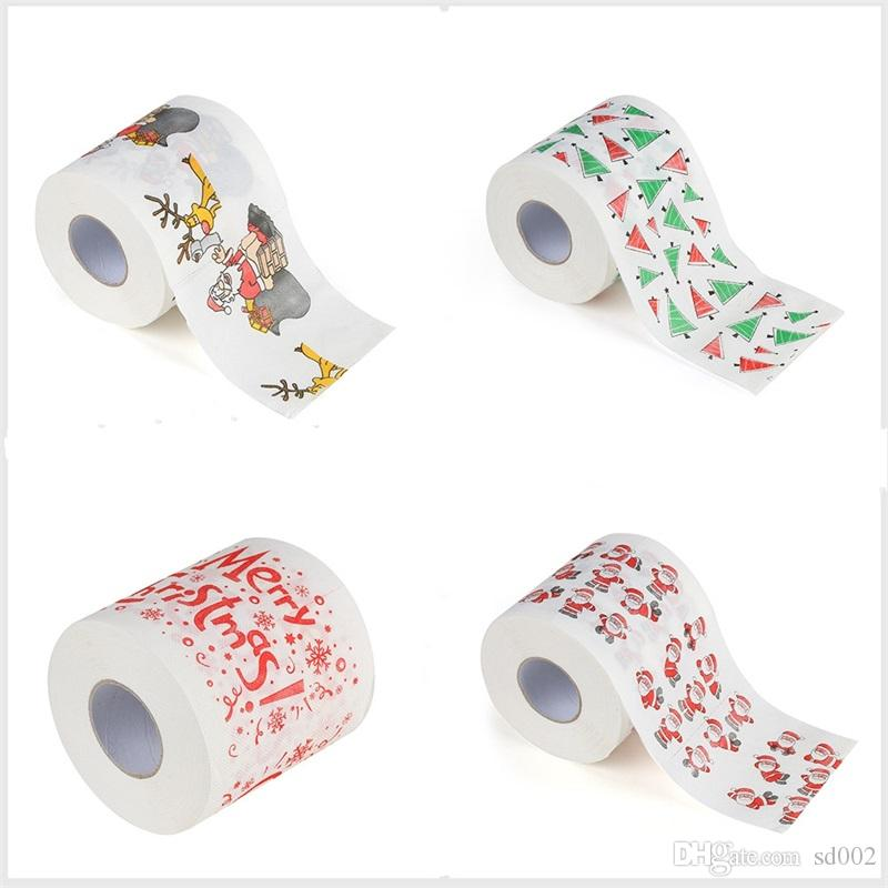 Feliz Navidad Papel higiénico Patrón de Impresión Creativa Serie Rollo de Papeles Moda Regalo de Novedad Divertido Ecológico Portátil 3ms jj