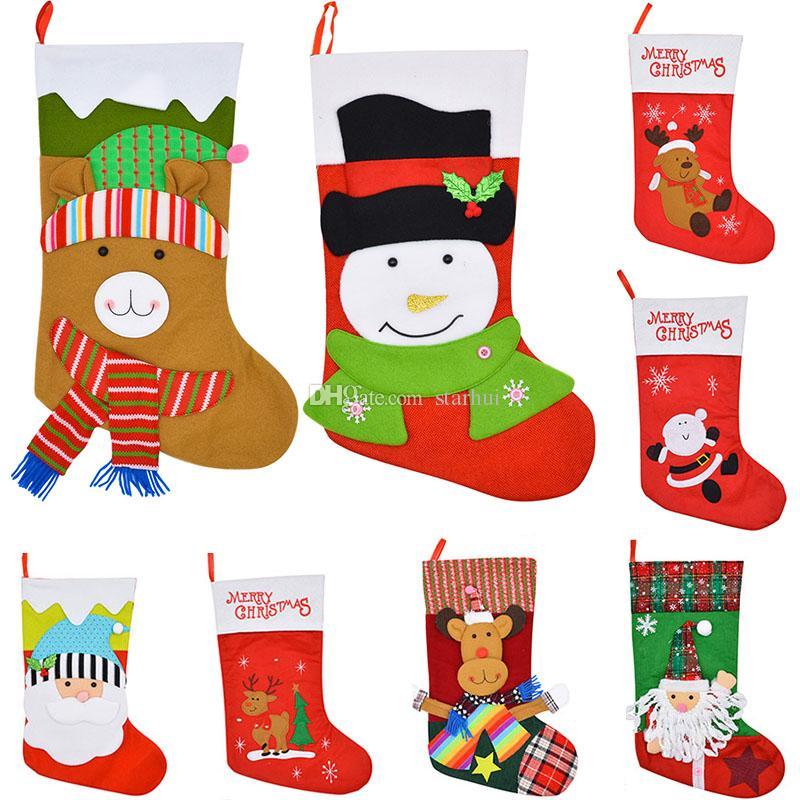 새로운 크리스마스 스타킹 선물 가방 천을 느꼈다 크리스마스 트리 양말 크리스마스 캔디 보관 가방 축제 파티 용품 크리스마스 장식 WX9-785