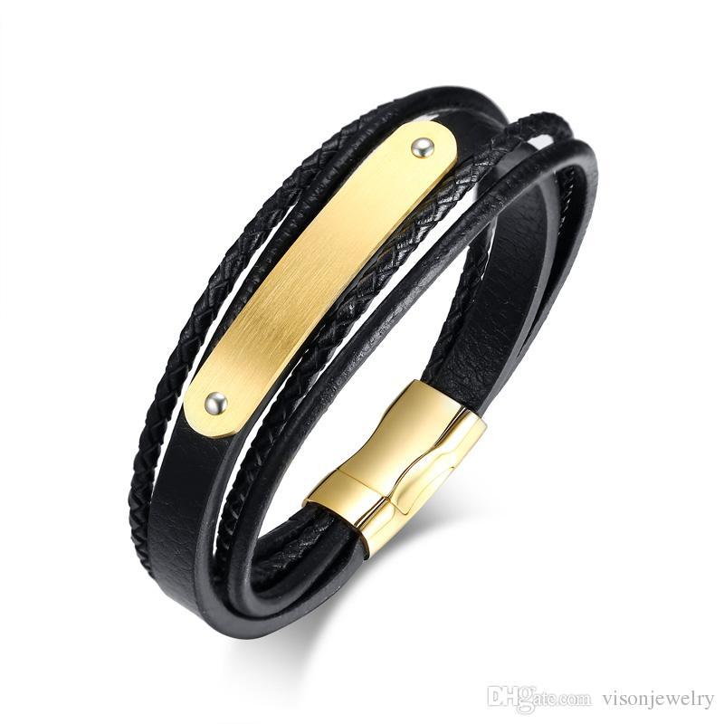 Gravure GRATUIT Matt Vide Curved Plaque Cuir Bracelet en acier inoxydable Wrap Noir Bracelet cadeau pour hommes