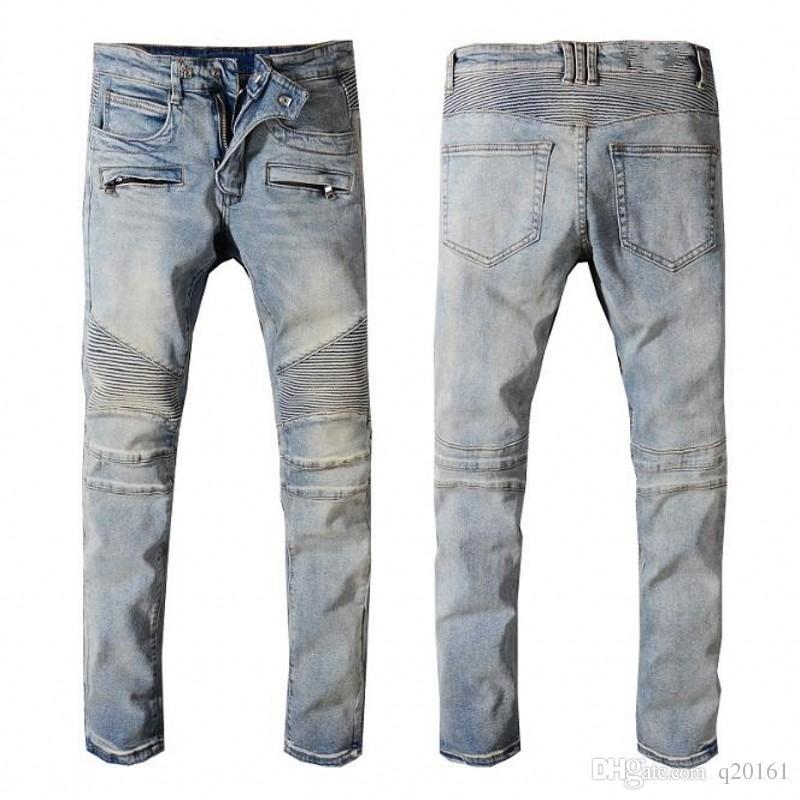 Los nuevos Mens apenada rasgado de la cadera del motorista Jeans Slim Fit motorista de la motocicleta del dril de algodón para los hombres Moda Hop Jeans para hombre de la buena calidad