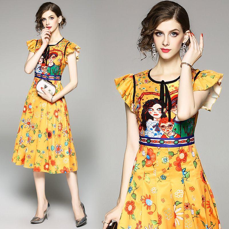 Robes d'été pour femmes avec une robe de bande dessinée de couleur jaune