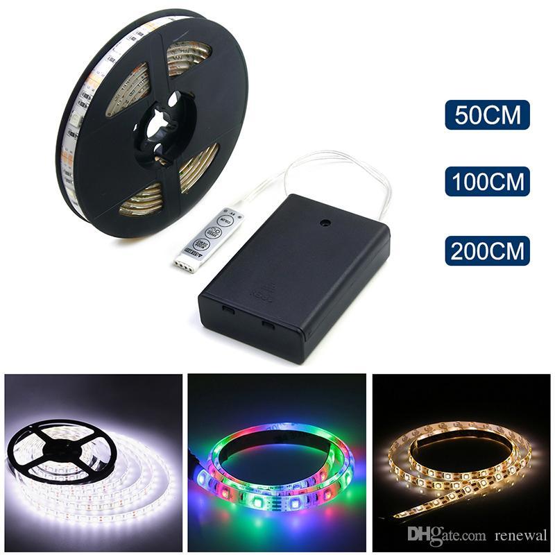 DHL Pil Powered LED Şerit 3528 SMD 50 CM 1 M 2 M Sıcak Beyaz / Soğuk Beyaz / RGB Su Geçirmez Esnek Led Şerit Dize Işık