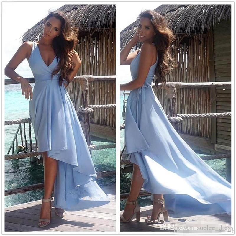 2020 Sexy scollo a V Prom Dresses Blue Sky High Low increspata raso cinghie Sash formale Evening Gown vestido de fiesta
