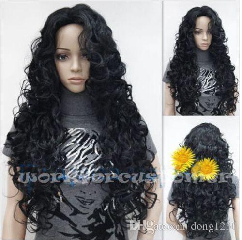 charme long nouveau style noir bouclés ondulé mode perruque de cheveux cosplay perruques