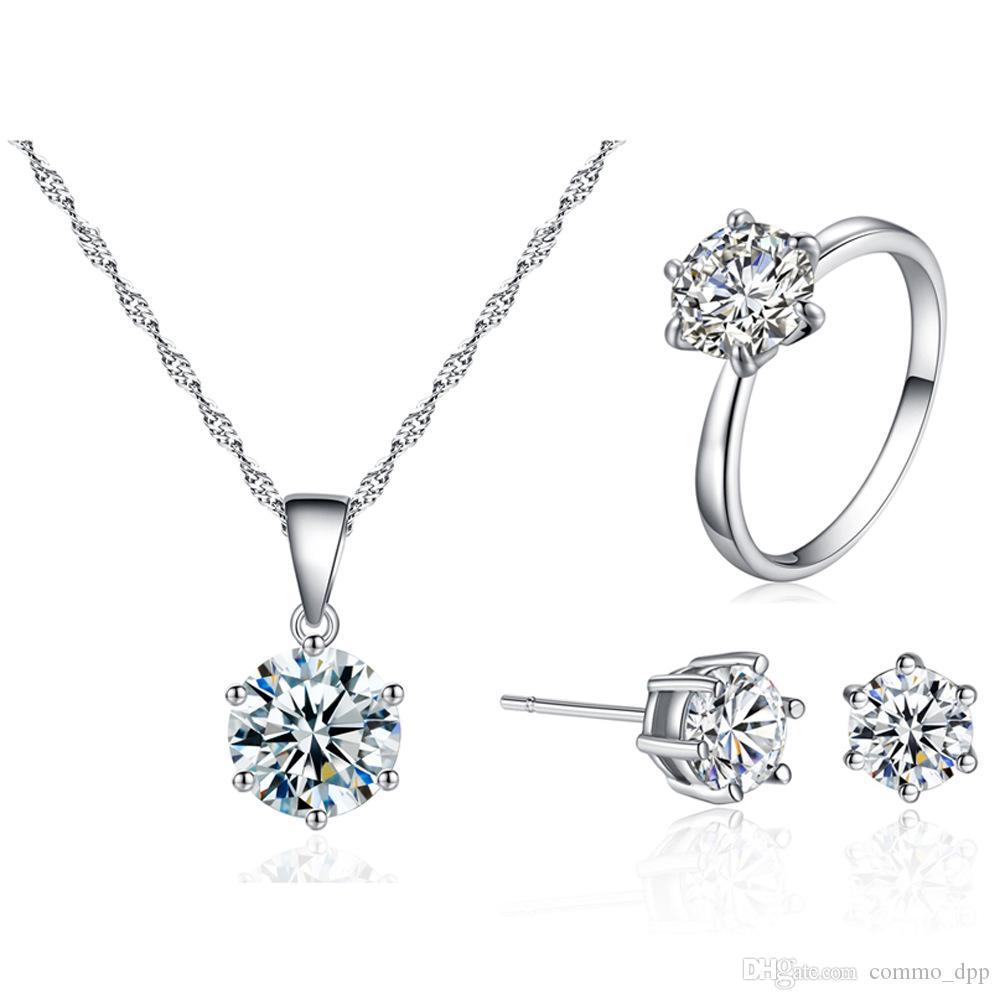 Lusso 8 MM Cubic zirconia Set di gioielli in argento placcato diamante cz collana orecchini orecchini set per le donne gioielli regalo di moda