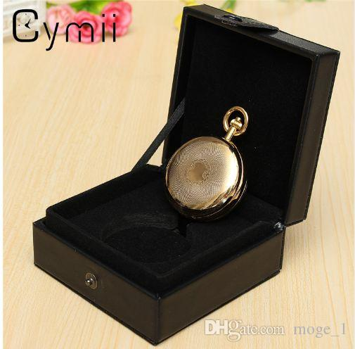 Cymii Watch Box Case Jewelry Chic Black Leather Display Case Single for Pocket Watch Box Jewel Chain Storage Holder Gift Box