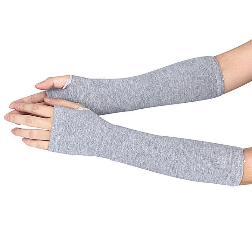 الشتاء المعصم ذراع اليد أدفأ محبوك القفازات أصابع طويلة القفاز 9.5 D18110806