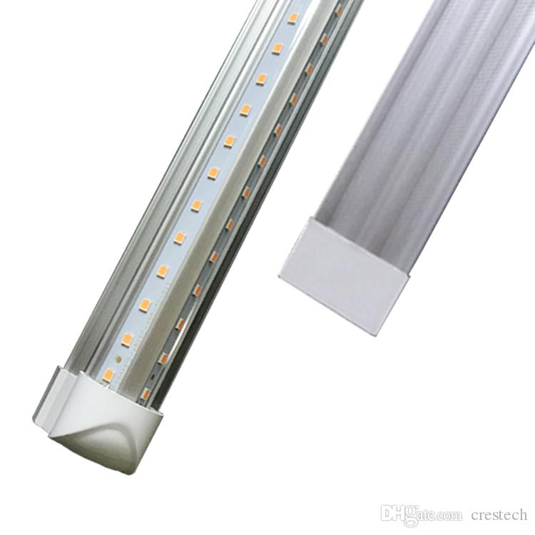 LED tubes lights 8ft 6ft 5ft 4ft Integrated V-Shaped Double row 26W 36W 45W 72W Cree Led Fluorescent lighting AC85V-265V 50pcs/lot