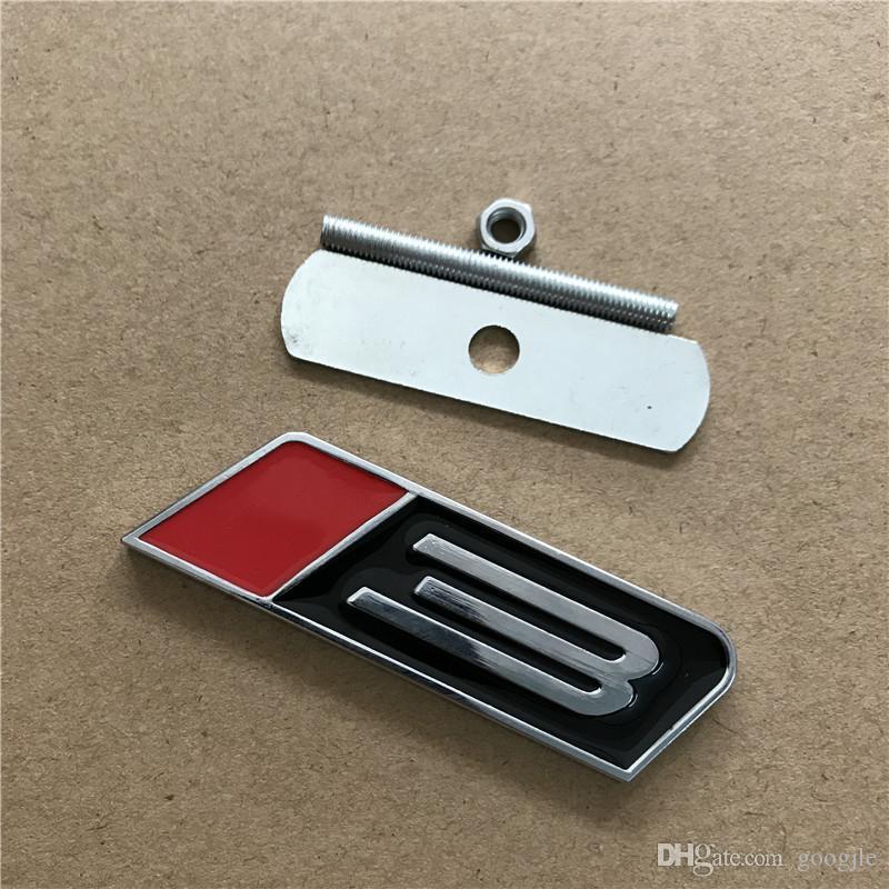 ROUSH Mustang Sahne 3 için Kırmızı Siyah Krom Metal Amblem Araba Styling 3D Grille Gövde Amblemi Spor Rozeti Ford için