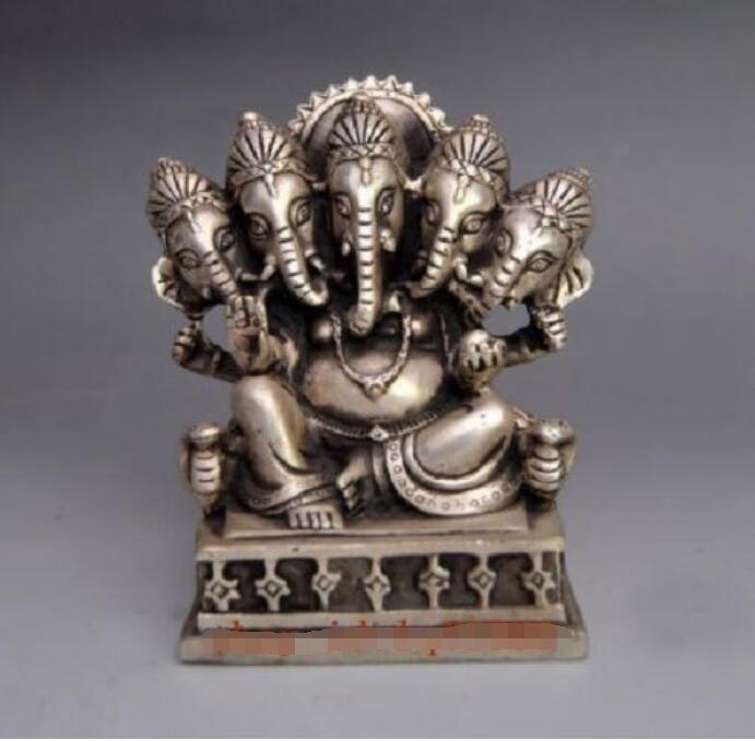 Çin eski İşi Gümüş Bakır 5 burun fil Buda kafaları heykeli