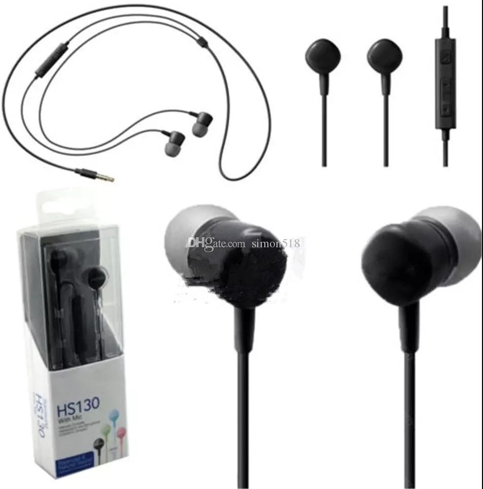 HS130 Cuffie stereo da 3,5 mm con auricolari di musica con microfono auricolari per Samsung Galaxy Note7 S7 S6 Cell Phone COPY