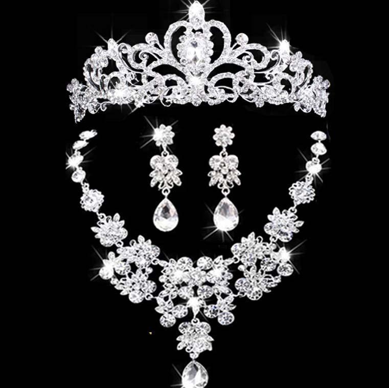 Frauenschmucksachen stellten Brauthaarverzierungen österreichische Kristallschmucksachehalskette und Ohrringsatz Braut-Brautzusätze ein