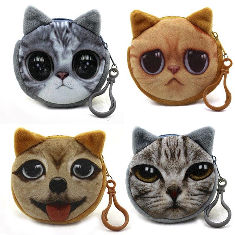 Mini 3D Katze Plüsch Geldbörse Tiere Drucke Reißverschluss Geldbörsen Kinder Tasche Frauen Billeteras Nette Monedero Gato Handtasche