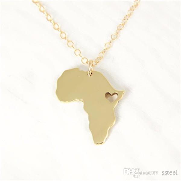 10 unids Collar Colgante Mapa Africano País de Sudáfrica Mapa Collar Adopción Etiopía Ciondolo África Corazón Collares joyería