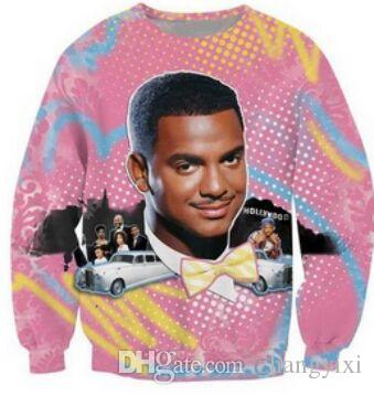 Wholesale Free Shipping Women Men Carlton Sweatshirt Fresh Prince 3D Digital Printed Cute Pullover Hoodies Top Clothes