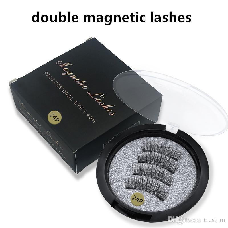 4 pcs = 1 paires Double Cils Magnétiques Top qualité 3D Vison Réutilisable Fasle Cils Sans Colle DHL Livraison Gratuite