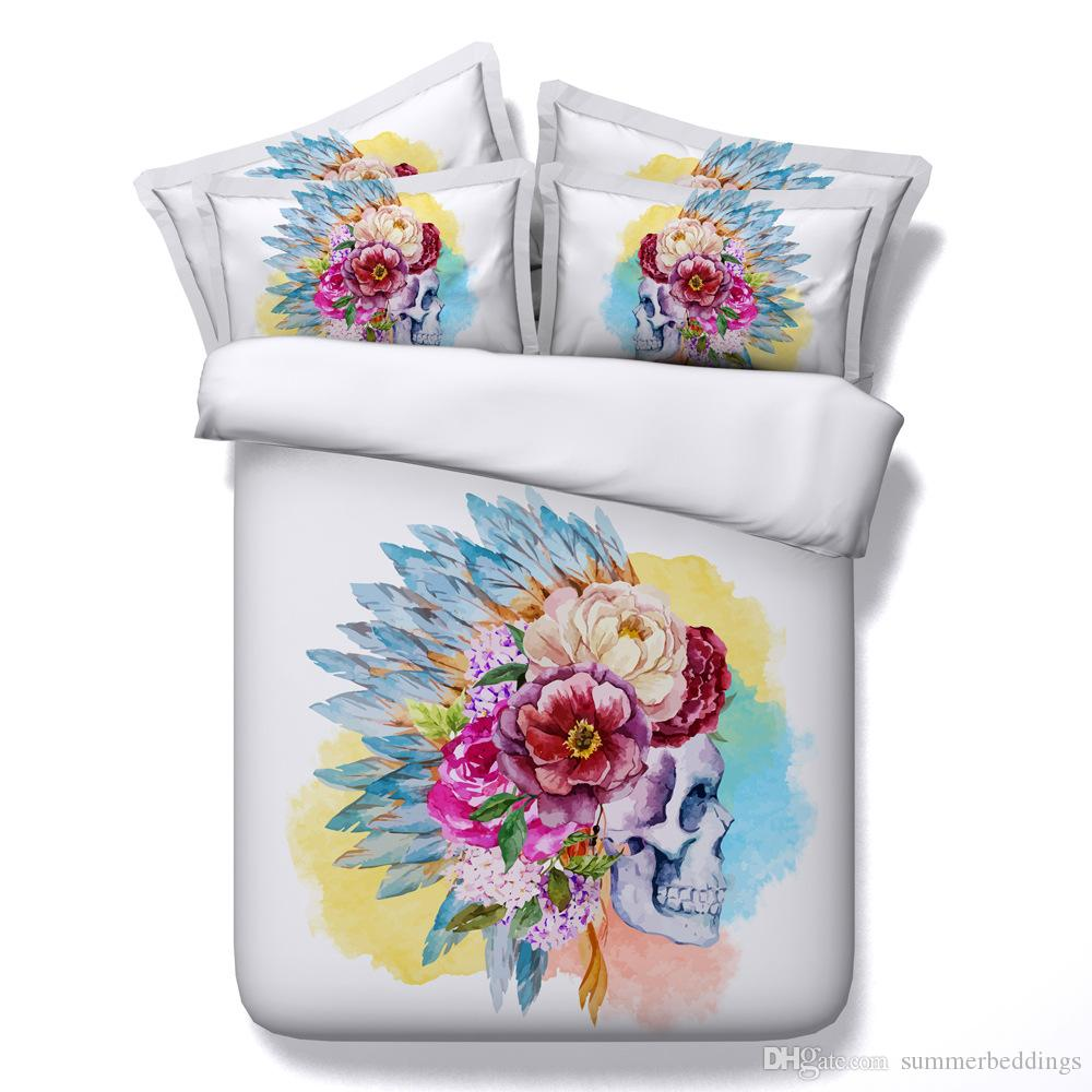 3D colorful sugar skull Duvet Cover Bedding Sets Human skeleton Bedspreads Holiday Quilt Covers Bed Linen Pillow Covers comforter cover