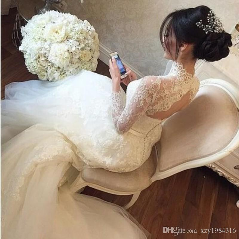 Arabic High-Neck Mermaid Wedding Dresses Lace Appliques Long Sleeve Tulle Sweep Train Bridal Gown Fashion Sexy Key-hole Back Wedding Gown