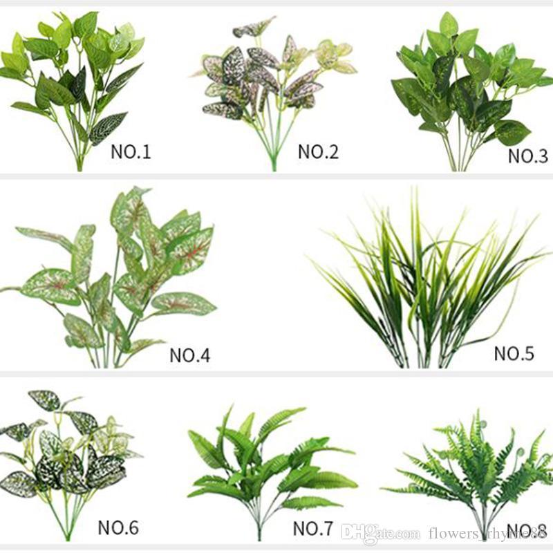 Folhas de flores artificiais Plantas tropicais cenário decoração plantas artificiais escritório / casa / casamento Plantas Jardim Home Office Decor Folha Verde Falso