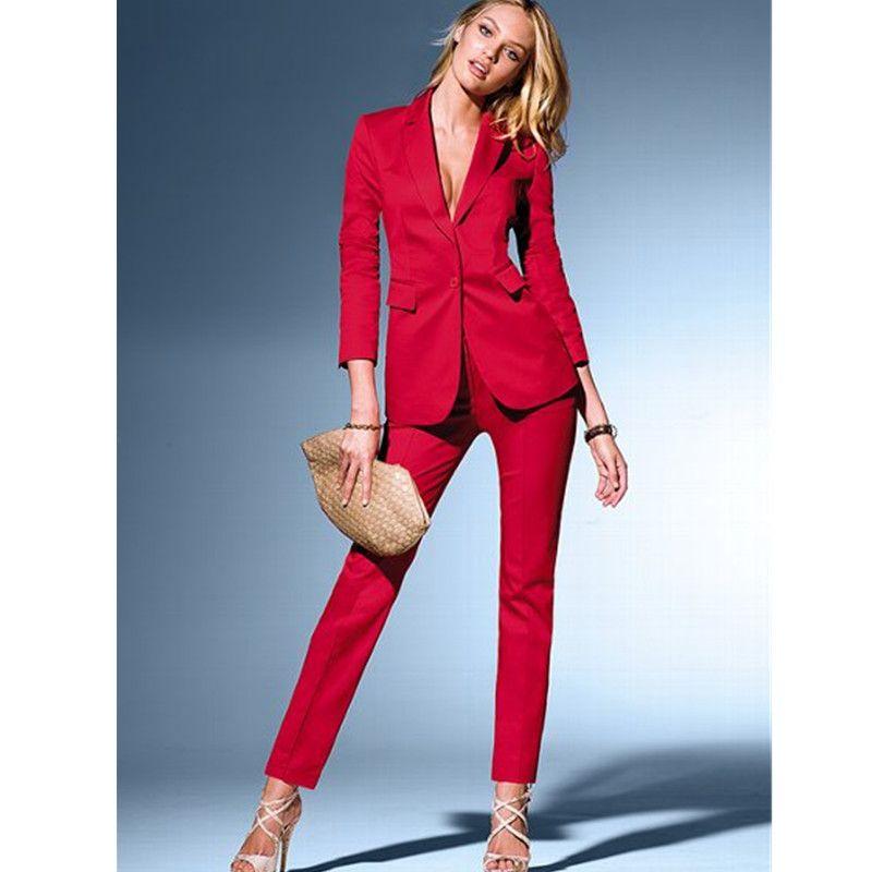 envío directo vendido en todo el mundo muchos de moda Compre Traje Rojo Personalizado Para Mujer Nuevo, Traje De Dos Piezas  Chaqueta + Pantalón, Traje Elegante Para Mujer, Traje Profesional De  Negocios A ...