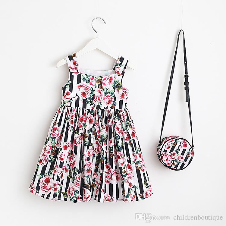 Kids Clothes Baby Dress 2018 Summer Floral Printing Dress With Matching Round Shoulder Bags 2Pcs Sets Girls Party Princess Handbags 4Colors