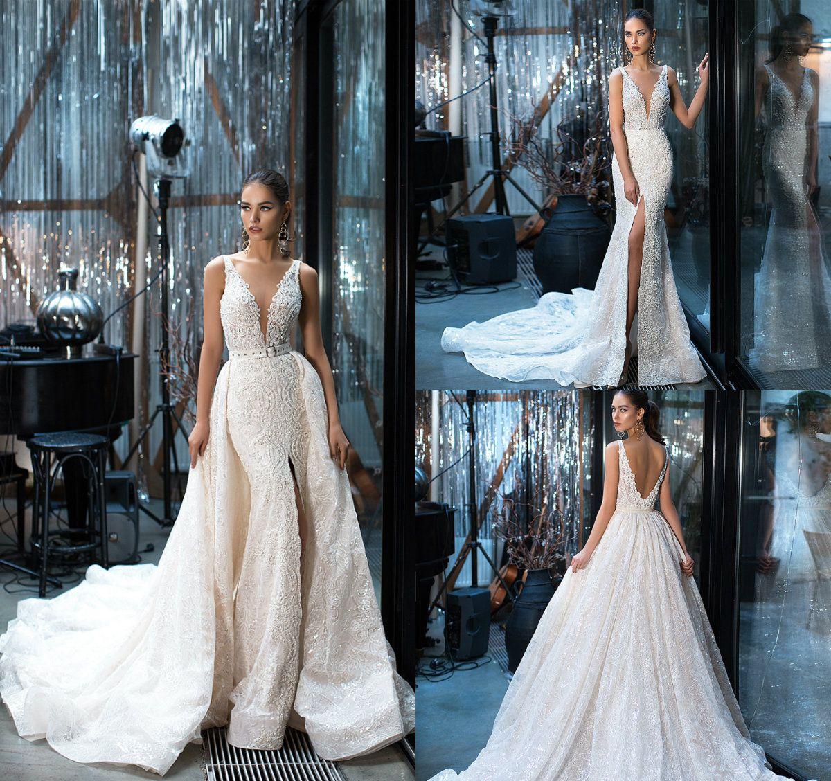 Julie Vino sereia Vestidos de casamento com vestidos de noiva destacáveis Appliques trem Beads profundo decote em V Sexy Backless Lace Vestido de Noiva Plus Size