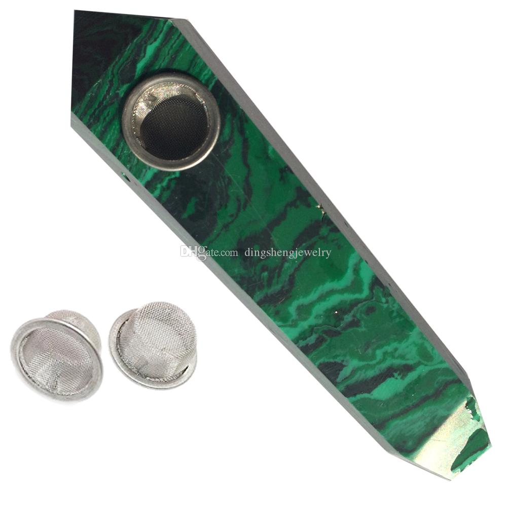 Green Malachite Quartz Smoking Pipe Crystal Stone Wand Point Cigars Pipes With 3 Metal Filters For Health Smoking