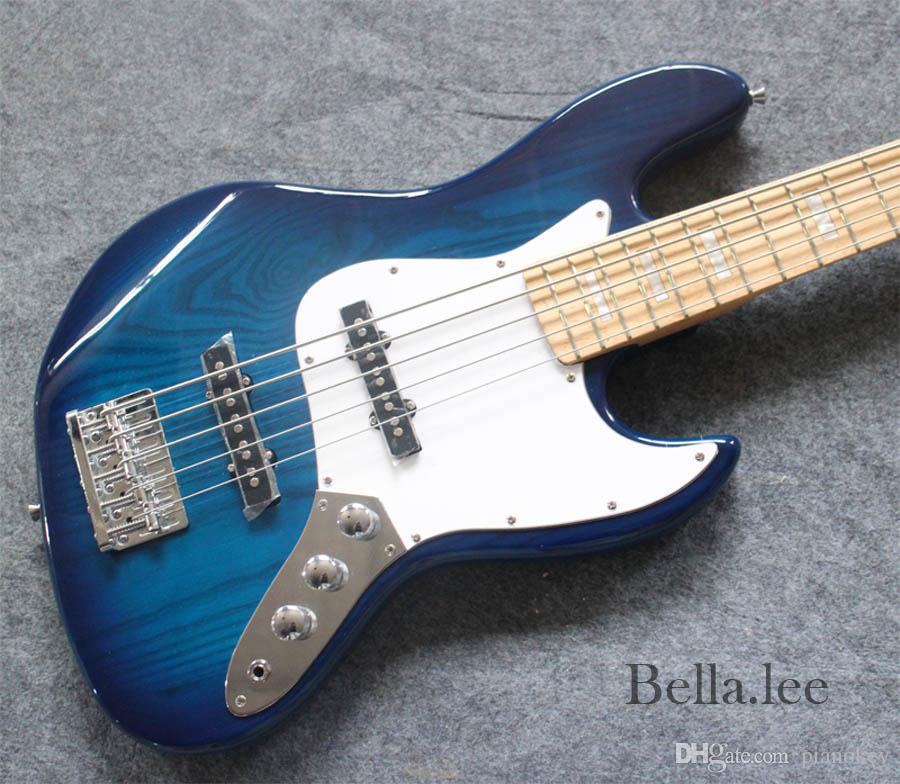 Custom OEM blue bass electric guitar,5 string Ash wood body bass,Made in China