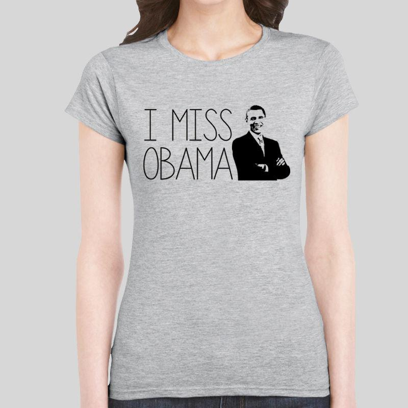 Camiseta de mujer I Miss Obama 44.ª presidente Barack Trump 2018 Camiseta de mujer Top de niña S - Xl Estampado personalizado Camiseta de manga larga O - Neck Top