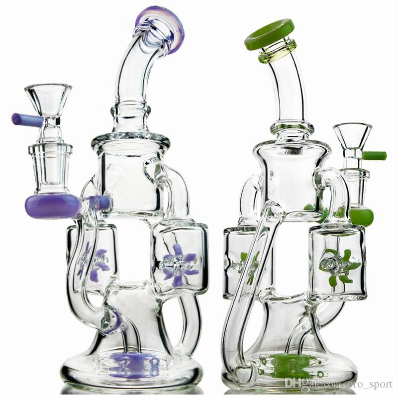 2019 Unique Glass Bongs Double Recycler Bong Propeller Spinning Perc Oil Dab Rigs Green Purple 14mm Water Pipes With Heady Glass Bowl