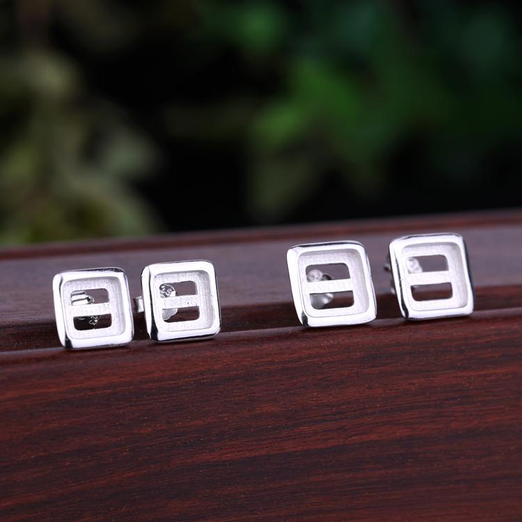 Стерлингового серебра 925 женщин серьги стержня 6x6mm 7x7mm Принцесса кабошон Semi Mount серьги партии ювелирных изделий