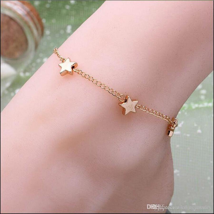 Kadınlar Ayak Halhal Küçük Hediyesi için Moda Takı Yıldız Şekli Gümüş veya altın rengi metal Kaplama Zincir