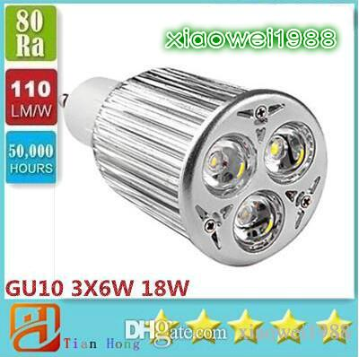 Alta potencia GU10 3X6W 18W LEDS Proyector 85V-265V Lámpara de iluminación LED Bombillas LED 3 años de garantía