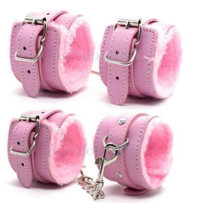 Fantasy Cosplay Costume Plush PU Leather Furry Handcuffs ankle cuffs Funny Props #R45